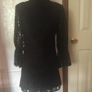 Voll Gothic Black Lace Dress with Lace Sleeves